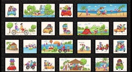 Road Trip Henry Glass Fabrics Road Trip Blocks - Black Panel 24''x44''
