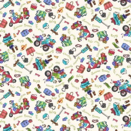 Road Trip Henry Glass Fabrics Novelty Large Toss Cream 2134-44