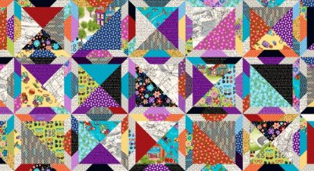 Road Trip Henry Glass Fabrics Quilt Block Cheater Multi/Black – 2142-99
