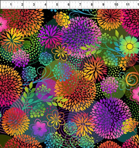 Unusual Garden II Digital In The Beginning Fabrics Flowers Large Black
