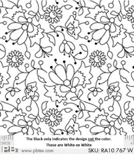 P&B Textiles Ramblings White on White Floral