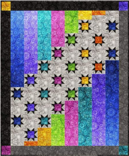 Quilt Kit Top Aurora Nights by Bound to be Quilting Finished size: 56'' x 68''