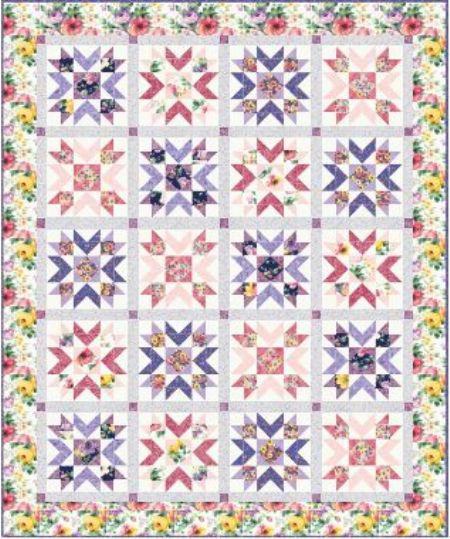 Quilt Kit Top Woodside Blossom Spring Finished size: 65 x 79