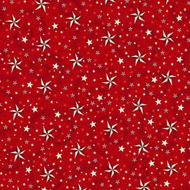 Wide Backing 108'' Henry Glass Red with Stars