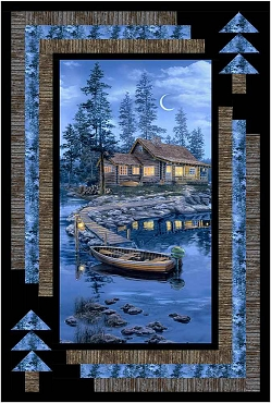 Quilt Top Kit Lakeside Cabin Timeless Treasures 39.5 x 58.5