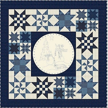 Quilt Kit Top: Snowmen Snow Globe FLANNEL by Quilt Doodle Designs