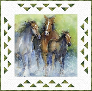 Quilt Kit Top 3 Wishes Running Horses Panel Quilt 47 x 47