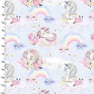 Unicorn Utopia 3 Wishes Unicorns and Rainbows Blue With Gold Metallic