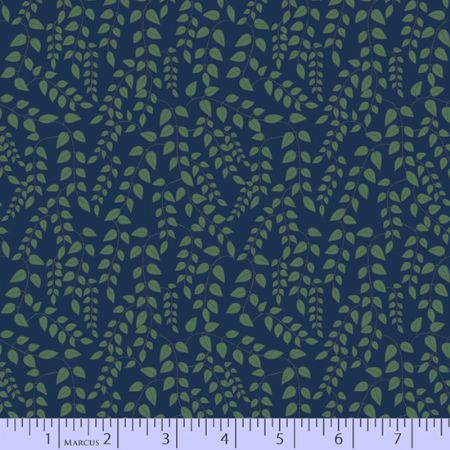 Dancing At Dusk Studio 37 Fabrics Trailing Vine Navy