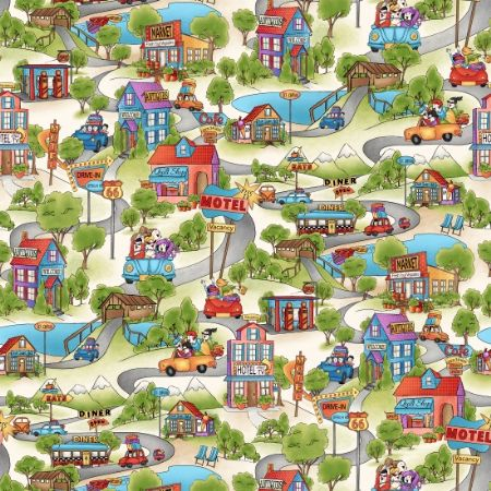 Road Trip Henry Glass Fabrics Scenic Cream 2132-44