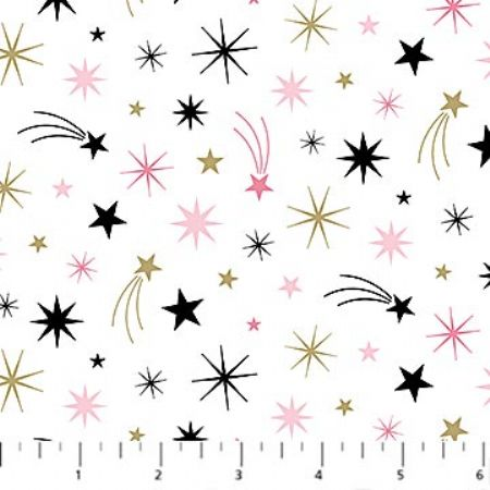 Believe in Magic Northcott, Shooting Stars Gold Metallic Accents on White Background
