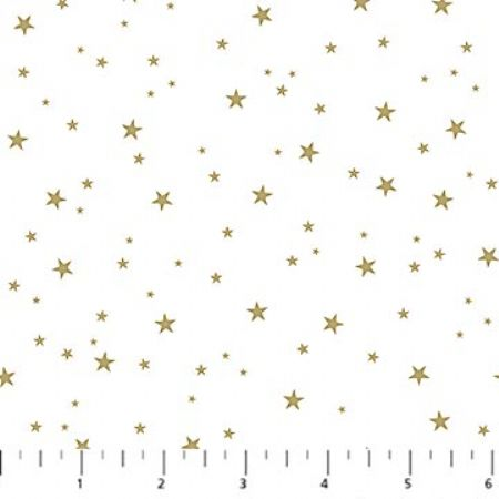 Believe in Magic Northcott Gold Metallic Stars on White Background
