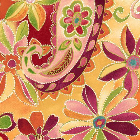 Oliva Quilting Treasures Floral Dotted Pasley Orange