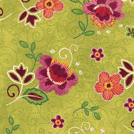 Oliva Quilting Treasures Tossed floral Light green