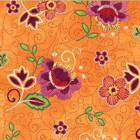Oliva Quilting Treasures Tossed floral orange