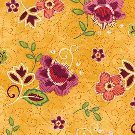 Oliva Quilting Treasures Tossed floral gold