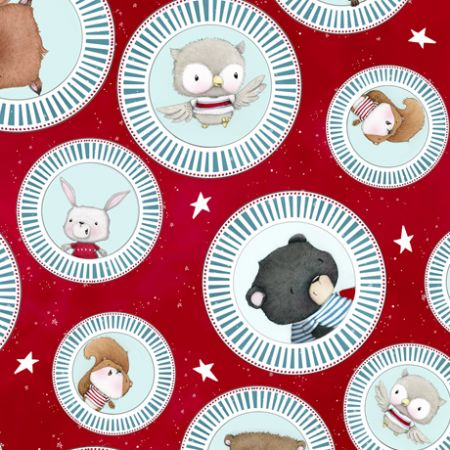 Campfire Friends Qt Fabrics Animal Medallions Red