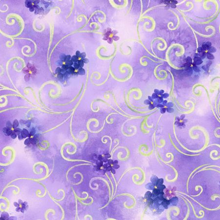 Hydrangea Blossoms Quilting Treasures Scroll & Floral Lavender
