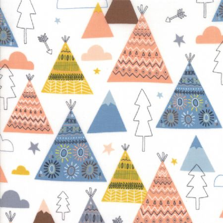 Wild and Free by Abi Hall for Moda Teepees Trees cloud