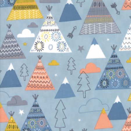 Wild and Free by Abi Hall for Moda Teepees Trees sky