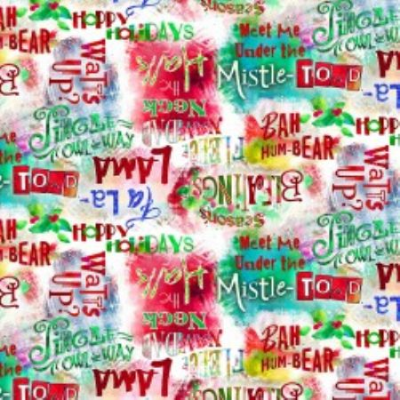 Sassy Holiday Collection 3 Wishes Fabric Words