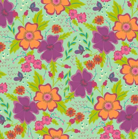 Gypsy Windham Fabrics Floral Large tossed Mint