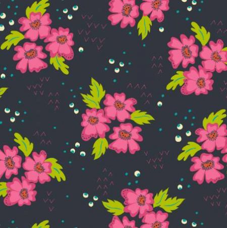 Gypsy Windham Fabrics Floral Clusters Charcoal