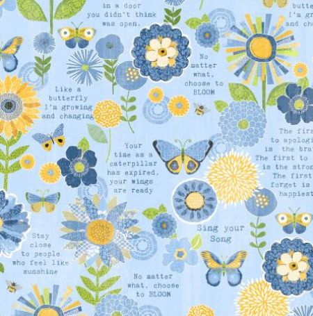 Sing Your Song Wilmington Prints Flowers & Sentiments Blue