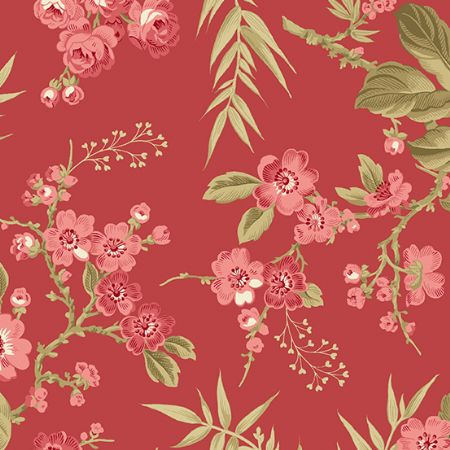 Little Sweetheart by Edyta Sitar for Andover Bouquet Scarlet