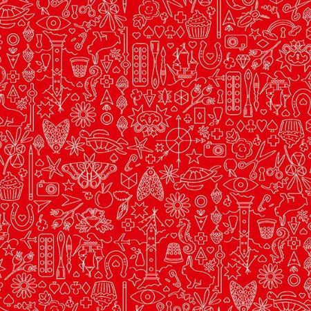 Sun Prints 2019 Andover Fabrics Collection Hearts Orange