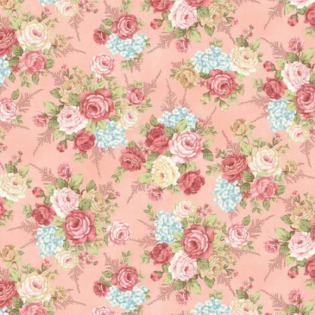 A Peaceful Gardens Henry Glass Flannel Dot Cream/Pink