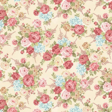 A Peaceful Gardens Henry Glass Flannel Master Floral Blush