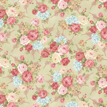 A Peaceful Gardens Henry Glass Flannel Master Floral Cream