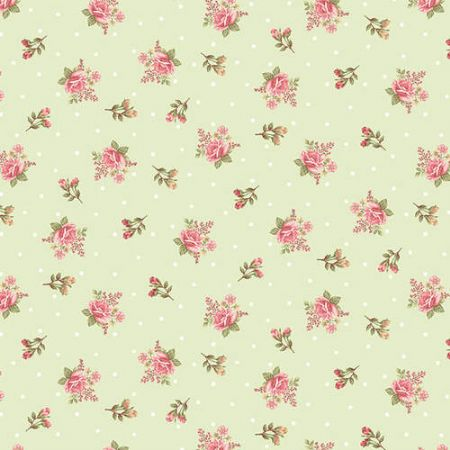 A Peaceful Gardens Henry Glass Flannel Small Floral Green