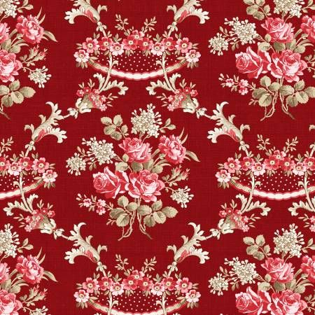 Rhapsody In Reds Wilmington Prints Damask Floral Red