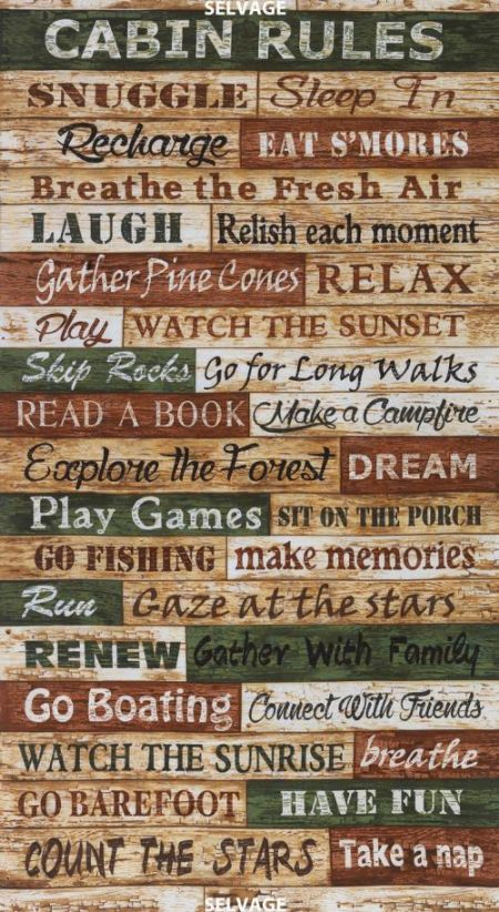 Timeless Treasures Cabin Rules Panel 24 x 44