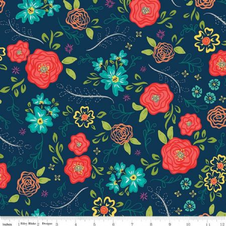 Wildflower Boutique Riley Blake Floral Main Navy