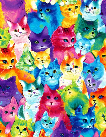 Meow-za Timeless Treasures Cats Painted Bright