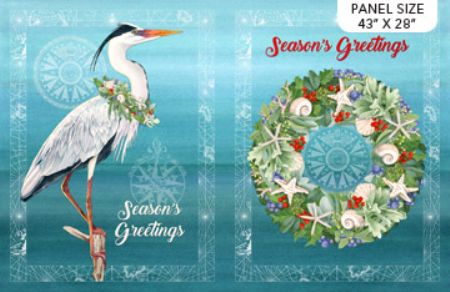 "Coastal Christmas Panel Seasons Greetings from Northcott 28"" x 44"""