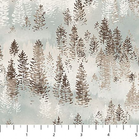 Misty Mountain Flannel Earth Northcott Studio Snow Trees