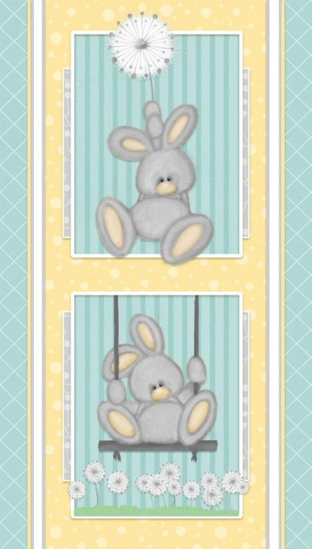 Fluffy Bunny Flannel Henry Glass Panel Blue 24'' x 44''