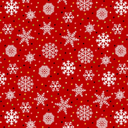 Snow Bird-Henry Glass 2 ply Flannel Snowflake Red