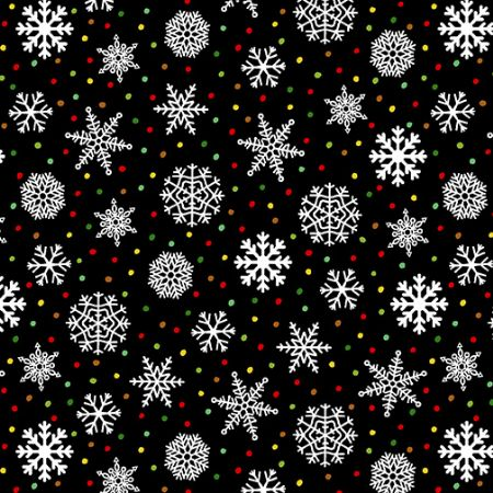 Snow Bird-Henry Glass 2 ply Flannel Snowflake Black