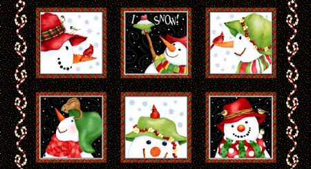 Snowman Panel-Henry Glass 2 ply Flannel- Barb Tourtillotte 24 x 44