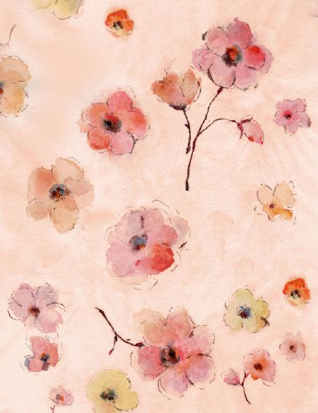Floral Study TT Fabrics Flowers Watercolor allover