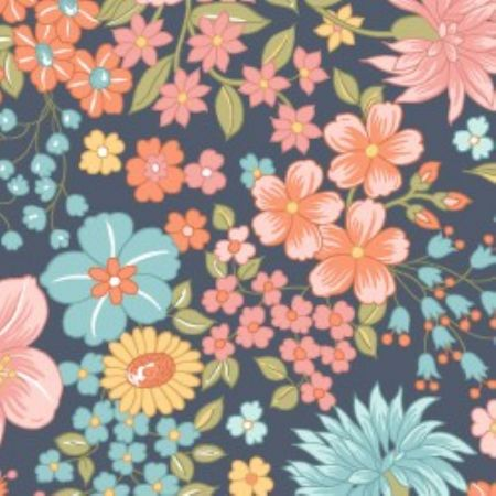 Sunlit Blooms from Maywood Studios Moonlit Floral Navy