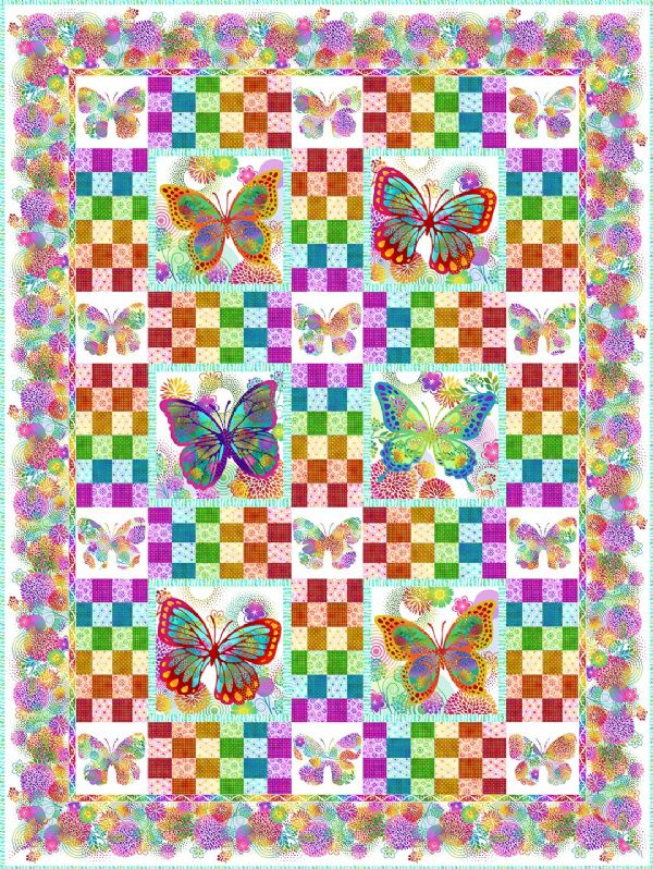 Quilt Kit Top Butterfly Garden White Jason Yenter