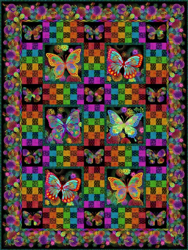 Quilt Kit Top Butterfly Garden Black Jason Yenter
