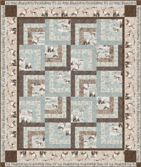 Quilt Kit Top: Hidden Boxes  Flannel by Ladeebug Designs Finished size: 56 x 77