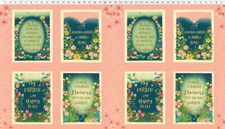 Garden Notes Clothworks Fabrics Panel Multi Garden Block 22 x 22